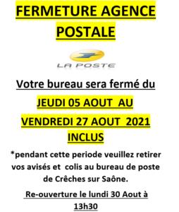 Fermeture de l agence postale du 05 août au 27 août 2021 inclus